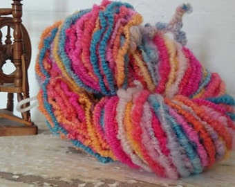 Miss Behaved - multicoloured Corespun coil ply artyarn bulky yarn for spin knit crochet or weave. Blue pink orange yellow handspun yarn