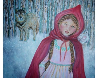 Original 8 x 8 LIttle Red Riding Hood Fine Art Print, Fairy Tale-Home Decor-Nursery room-Children's Stories, Winter, Snow,Red, Nursery Tales