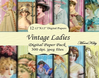 "Instant Download - Digital Scrapbook Pack - Vintage Ladies - MK96 - 12 12""x12"" Digital Paper - Collage Sheets - Scrapbooking Paper"