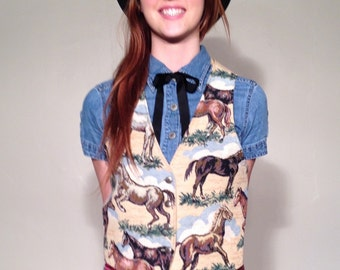 Cute! Horse Vest Retro Tapestry Roper Country Western 80s 90s Small