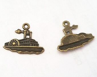 6pc 25x20mm antique bronze finish ship pendants-10340