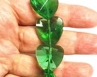 12pc 21mm green heart shape facted glass beads-7887G