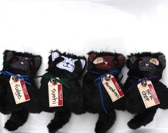 Kitten Plushie Stuffed Doll Black Fur