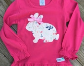 Limited Edition Spring Easter Bunny Girl's Ruffle Shirt For Baby, Toddler, Youth