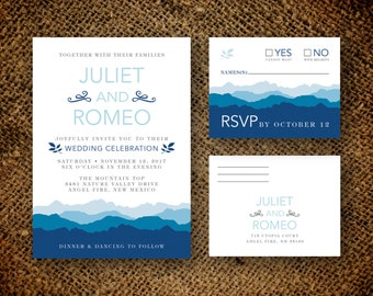 Mountain Wedding Invitation & RSVP Card - Woodland Wedding - Nature Oudoor Wedding - Printable DIY