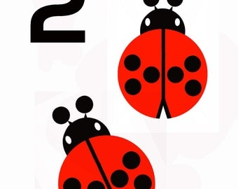 Two today - ladybird birthday greeting card
