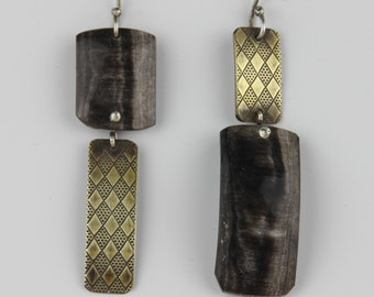 Asymmetrical Sterling Silver Textured Brass Cow Horn Earrings