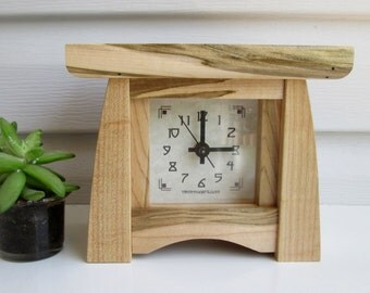 Maple Mantel Clock, Wormy Maple Bungalow Clock, Craftsman Clock, Arts and Crafts Clock, Maple Clock, Mantel Clock