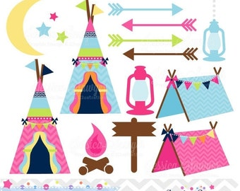 80% OFF - INSTANT DOWNLOAD, glamping clipart, for camping party, commercial use, personal use