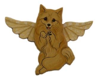 Angel Dog Pomeranian Dog Angel Wooden Wall Hanging