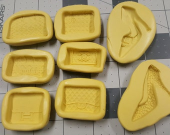 Set of 8 fashionista molds - purses and shoes