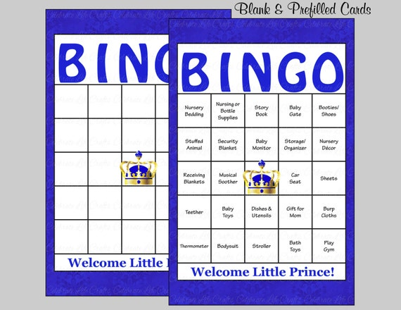 60 prince baby shower bingo cards 60 prefilled bingo cards boy