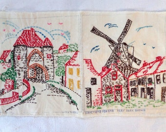 Vintage Embroidery Dutch Windmill Sampler