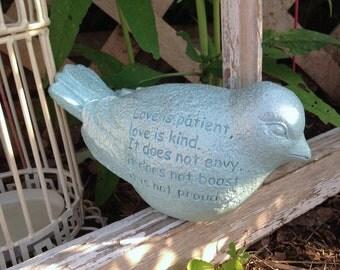 Sentiment Bird Statue - Love Is Patient, Love Is Kind - Friendship Encouragement Scripture Religious - 1 Cor 4:7 - Garden Bird