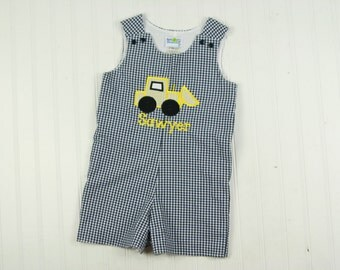 Baby Boy Shortall - Gingham Jon Jon - Digger Birthday Party - Front Loader Outfit - Toddler Boy Outfit - Boys Construction Outfit - Romper