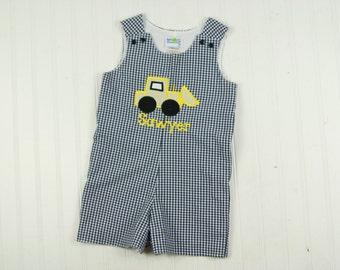 Baby Boy Shortall - Gingham Jon Jon - Construction Birthday - Bull Dozer Outfit - Toddler Boy Outfit - Boys Construction Outfit - Romper
