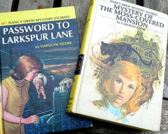 Vintage children's books, Nancy Drew Mysteries, Carolyn Keene, set of  2 hardcover, color cover books, instant collection