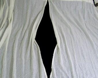"Four (4) Vintage Ivory Woven Box Curtains  56""w x 64""l NOS"