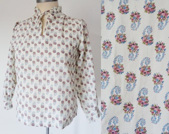 Vtg 70s White PRAIRIE Blouse with DITZY Floral Print, XS