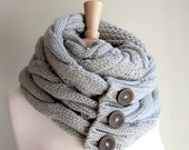 SALE SALE Grey Infinity Scarf with Buttons Braided Cable Knit Neckwarmer Gray Scarves Women Girls Accessories