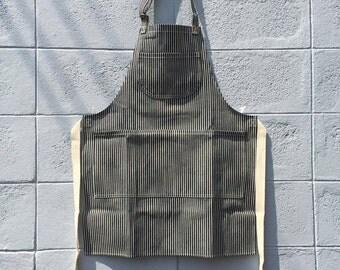 New Hickory Denim Apron no.02 Copper rivets 2 pockets  /garden/barista/ Handmade
