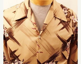 50% Off Valentines Sale Vintage 70s Triumph Polyester Disco Men's Hipster Shirt Tan Abstract Design Floratl Design SZ M