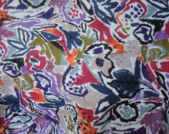 Vintage 1980s John Kaldor cotton fabric large print abstract floral BTY