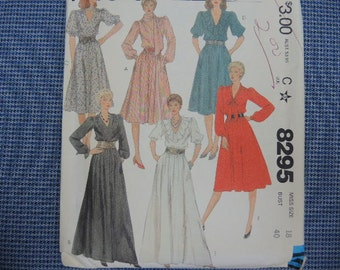 vintage 1980s McCalls sewing pattern 8295 misses pullover dress size 18 UNCUT