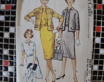 Vintage 1950s McCalls sewing pattern 5029 Misses  dress and jacket size 16