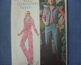 vintage 1970s simplicity sewing pattern 6526 misses unlined jacket or vest and pants size 10