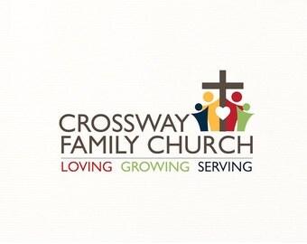 church logo people cross heart christian religious religion - Logo Design #C4