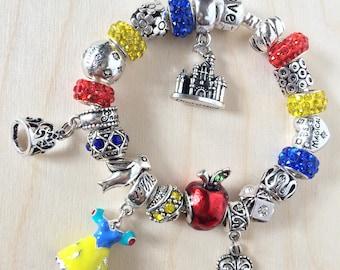 Authentic Pandora 925 Silver Bracelet with European Charms Disney Snow White Theme