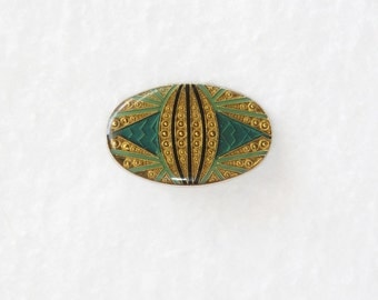 Vintage 1980's Art Deco Style Metal and Acrylic Pin Made in Taiwan