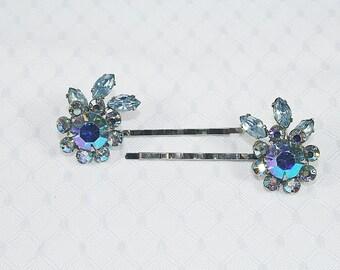 Sparkly Rhinestone Hair Pins Blue Aurora Borealis Rhinestone Hair Pins Wedding Hair Pins One of a Kind Hair Pins
