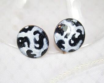Vintage Enameled Copper Earrings Swirl Earrings