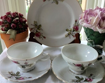 Moss Rose Japan Tea for Two Set Set of Two Moss Rose Japan Teacups and Saucers