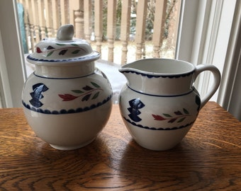 Adams Ironstone  Lancaster Sugar Bowl and Creamer  Set Farmhouse  Rustic Folk Art