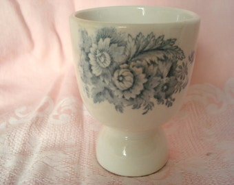 Vintage Blue Transferware Egg Cup Shabby Cottage Chic