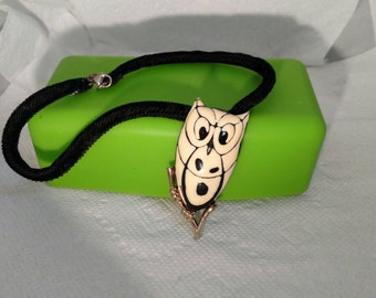Eisenberg Owl Pendant, Velvet Rope Necklace, Mint Condition