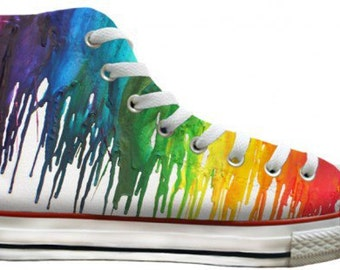 Ladies Men Color Crayon Drip Rainbow pride Custom LGTBQ High Top Converse w/ Swarovski Crystal Rhinestone Chuck Taylor All Star Sneaker Shoe