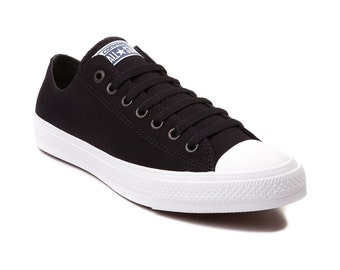 Converse Black Low Top Chuck Taylor II Monochromatic Canvas Custom Kicks w/ Swarovski Bling Rhinestone Jewels All Star Sneakers Shoes