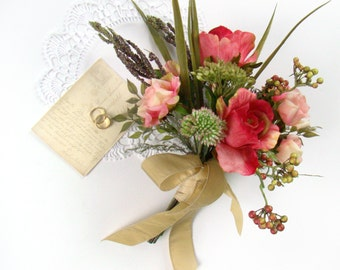 Rustic Bridal Bouquet, Wildflower Rose Wedding Bouquet Cerise Pink Burgundy Silk Bouquet Bride Bouquet Flower Bouquet Bridesmaid