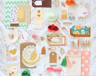SALE! Gift Wrap Kit Pink Gold Peach Green Paper and Embellishment Kit