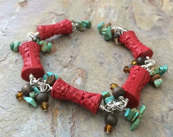 Flower carved Cinnabar, turquoise and wood boho bracelet, ladies gift, one of a kind