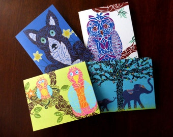 "Set of 8 Designer Note Cards- ""It's a Zoo!"""
