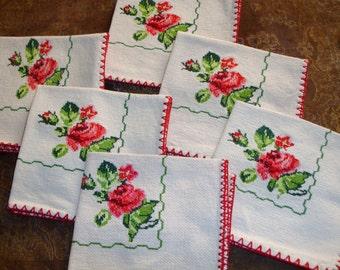 """Napkins, Floral Napkins set of Six, Vintage napkins. Dinner Napkins, Burlap napkins, Store Stock Vintage, 1970s Vintage Kitchen, 13"""" Square"""