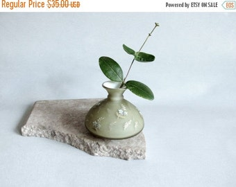 SHOP CLOSING SALE Green Satin Glass Bud Vase. Art Glass. Fused Glass. Blue and Gold Floral Decoration.