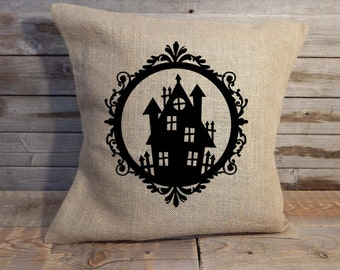 18 in burlap Halloween haunted house pillow cover