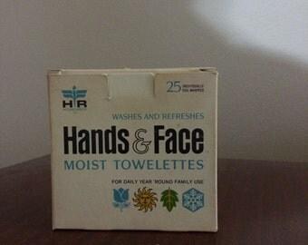 Vintage Hands & Face Moist Towelettes Package Home Decor (1964)
