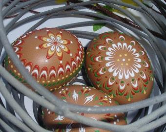 Set of 3 Decorated Brown Chicken Eggs, Drop Pull Pysanky, Wax Embossed Chicken Pysanky
